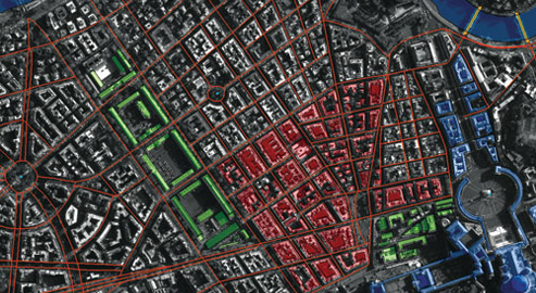 Building and road detections being displayed in SOCET for ArcGIS. This Esri module combines the stereo photogrammetric capabilities of BAE Systems' SOCET GXP® software with the cartographic and feature-editing tools of the Esri® ArcGIS® application.