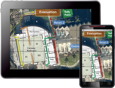 Collaborative Response Graphics over hotel grounds provide a Common Operating Picture