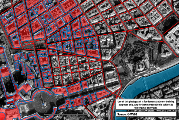 A GeoPDF® of Rome, Italy with roads and buildings drawn as vector shapes. SOCET GXP is capable of creating both 2D and 3D GeoPDF® products. Imagery courtesy of Maxar.